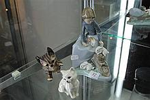 Nao Figure of Girl with Bunnies, plus 2 Cat Figures incl Beswick