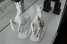 Pair of Jema White Crackle Glaze Rearing Horses Made in Holland (restoration on one)