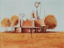 Eris Fleming (1943 - ) Outback Homested oil on board 29.5 x 39.5 cm (frame: 53 x 63 x 5 cm) signed lower right