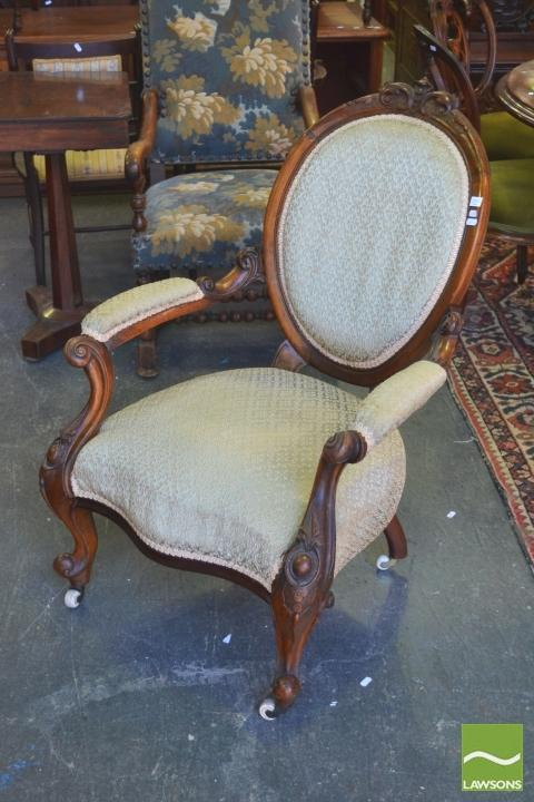 Victorian Carved Walnut Gentlemans Armchair With Green Uphol