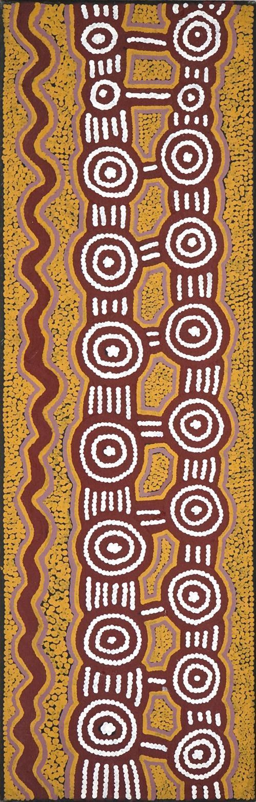Dini Campbell Tjampitjinpa (c1940 - 2000) - Tingari Dreaming, 1998 112 x 36cm (stretched & ready to hang)