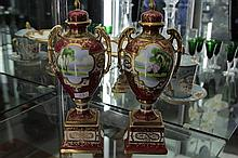 Pair of Noritake Lidded Urns with Handpainted Scenes and Gilding