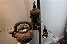 Chinese Bronze Teapot, Deity & Buddha Figure