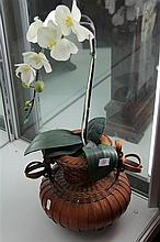 Bamboo Vase with Faux Flower