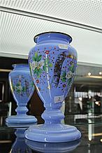 Victorian Blue Glass Vase with Enamelled Decoration