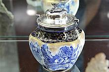Doulton Burslem Blue and Gilt Biscuit Barrel with later lid