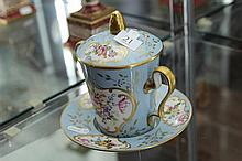 Limoges Hand Painted Covered Cup and Saucer