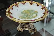 Davenport Longton Hand Painted and Gilded Cake Stand (restored)