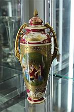 Vienna Porcelain Lidded Vases with Hand Coloured Pigired and Gilding