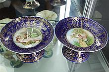 Pair of Vienna Porcelain Blue and Gilt Comports