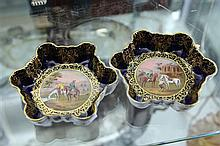 Pair of Vienna Porcelain Dishes with Hand Painted Horse Riding Scenes (1a.f)