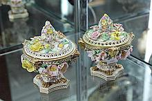 Pair of English Floral Encrusted Lidded Potpourri Containers ( some losses and restoration)