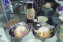 Pair of Continental Hand Coloured and Gilded Dishes with Vienna Porcelain Cobalt Blue and Gild Jug with Maidens