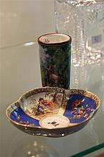 Florence Hand Painted Vase and German Handpainted Saucer