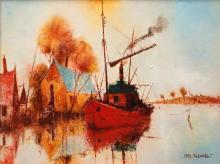 Eris Fleming (1943 - ) - Finn's River Boat 38 x 51cm