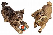 Ernst Bohne & Sons Bisque Playful Cat & Dog Figures