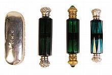 English Hallmarked Sterling Silver Crystal Trinket Box & Perfume Bottles