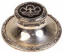English Hallmarked Sterling Silver & Tortoise Shell Ink Well
