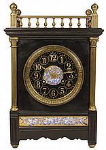 Black Slate & Brass Mantle Clock