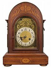 Oak Inlaid Mantle Clock Retailed by S. Fisher Ltd