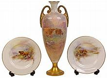 Royal Worcester Highland Cows Vase (Damaged) & Dishes by Harry Stinton