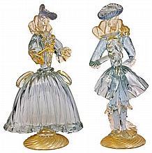 Murano Art Glass Pair of Masquerade Figures