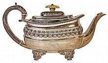 English Hallmarked Sterling Silver Regency Teapot