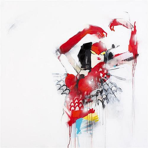 ANTHONY LISTER (born 1980) - Spider Woman 2007 mixed media on canvas