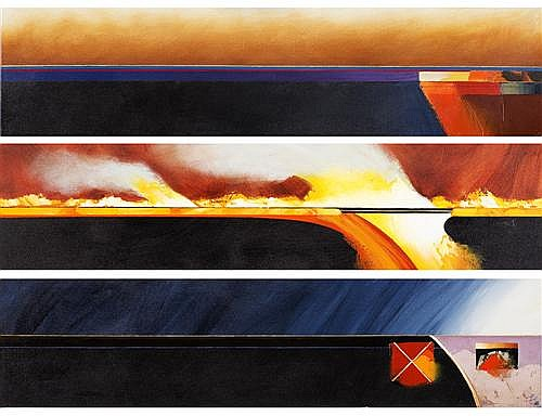 JULES SHER (born 1934) - 3 Horizons - Dust, Fire & Rain 2000 synthetic polymer paint on canvas (triptych)
