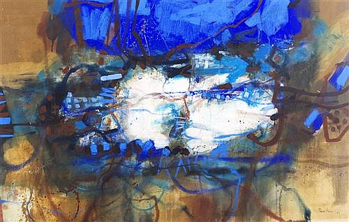 ROBERT GRIEVE (1924-2006) - Cerulean Flow synthetic polymer paint and gouache on paper