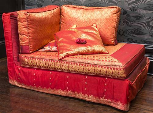 a corner chaise lounge covered in claret and gold fabric e. Black Bedroom Furniture Sets. Home Design Ideas