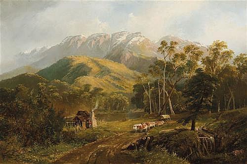 NICHOLAS CHEVALIER (1828-1902) - Buffalo Ranges 1893 oil on canvas