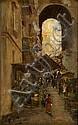 GIROLAMO NERLI (1860-1926) - Cairo Street Scene oil on canvas on board, G. P. B. Nerli, Click for value