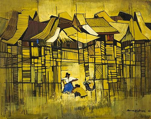 TAY BAK KOI (born 1938, Singaporean) 'The Washer Women'