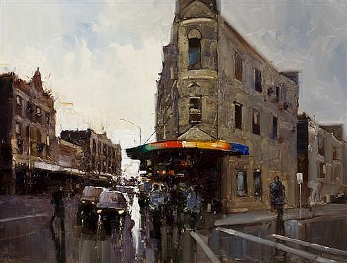 HERMAN PEKEL (born 1956) - 5pm Newtown, Sydney oil on canvas