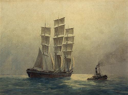 FREDERICK ELLIOTT (Working c1890-1930) - Under Sydney Harbour watercolour on paper