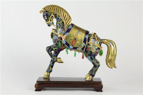 Cloison Stand Of Cloisonne Decorated Horse On Stand