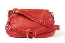 00d5d8edf0d7 344  AN OROTON RED LEATHER HANDBAG  with plaited shoulder strap and chromed  metal hardware