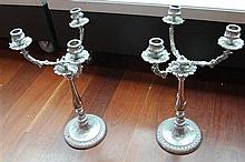 Pair of Silver Plated 3 Branch Candelabra