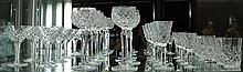 Set of Eight Bohemian Crystal Wine Glasses with other Similar Pattern Stem Ware