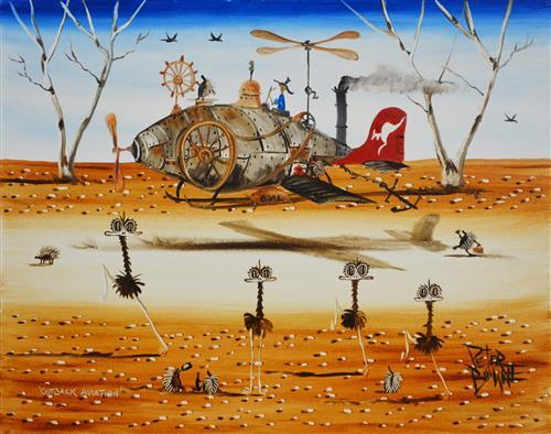 Peter Browne (1947 - ) - Outback Aviation 40 x 50cm