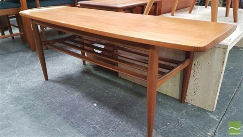Elevated Teak Coffee Table With Raised Lip Ends Shelf Belo