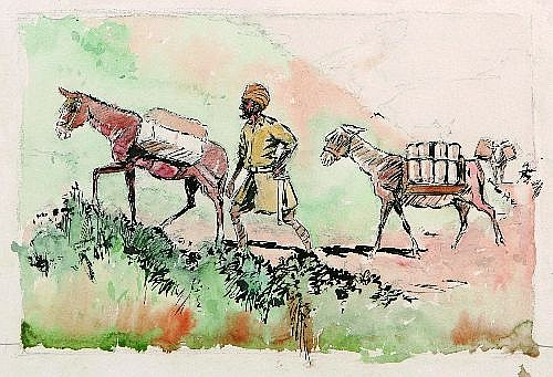 GEORGE COURTNEY BENSON (1886-1960) - Pack Mule, Egypt WWI 35 x 18 cm