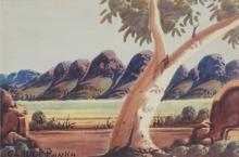 Claude Pannka (1928 - 1972) - Central Australian Landscape, 1972 16 x 24cm