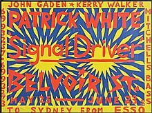 "Martin Sharpe (1942 - 2013) - Patrick White ""Signal Driver"" Belvoir St, Sydney 73 x 99cm"