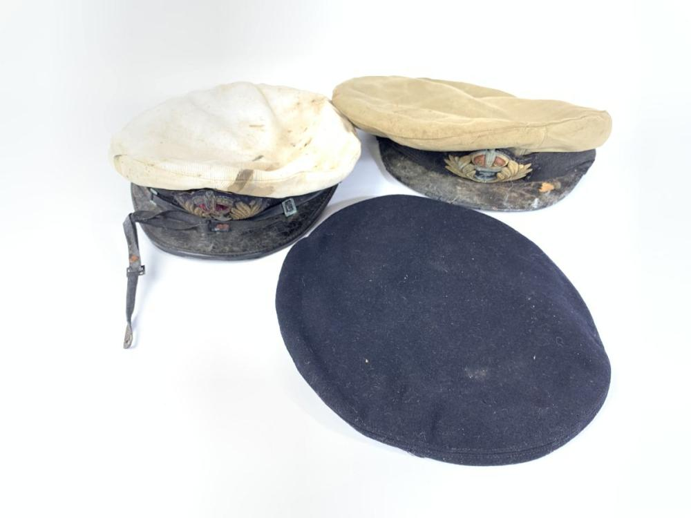 Two Vintage Navy Hats Together with Another ( Some Ware)