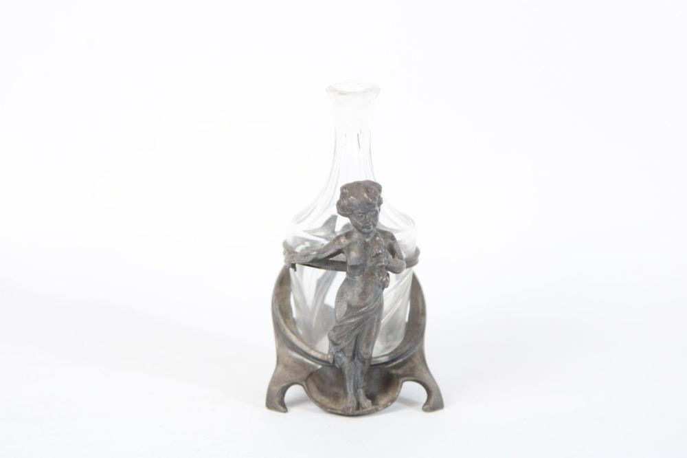 Lot 9: WMF Art Nouveau Plated Cherubic Bottle Holder (H 9cm)