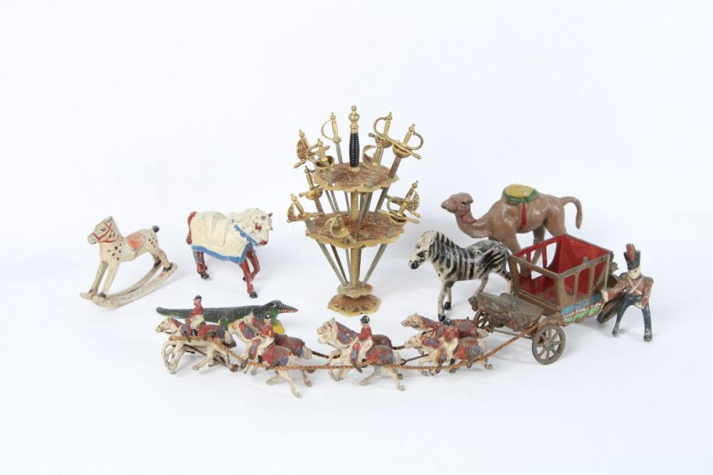 Johillco Chariot Ornament Together with Cast Metal Animal Figures inc Cutlass Themed Swizzel Stick Holder