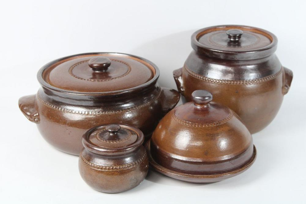 Lot 12: Bendigo Pottery Lidded Pot Together with Other Examples