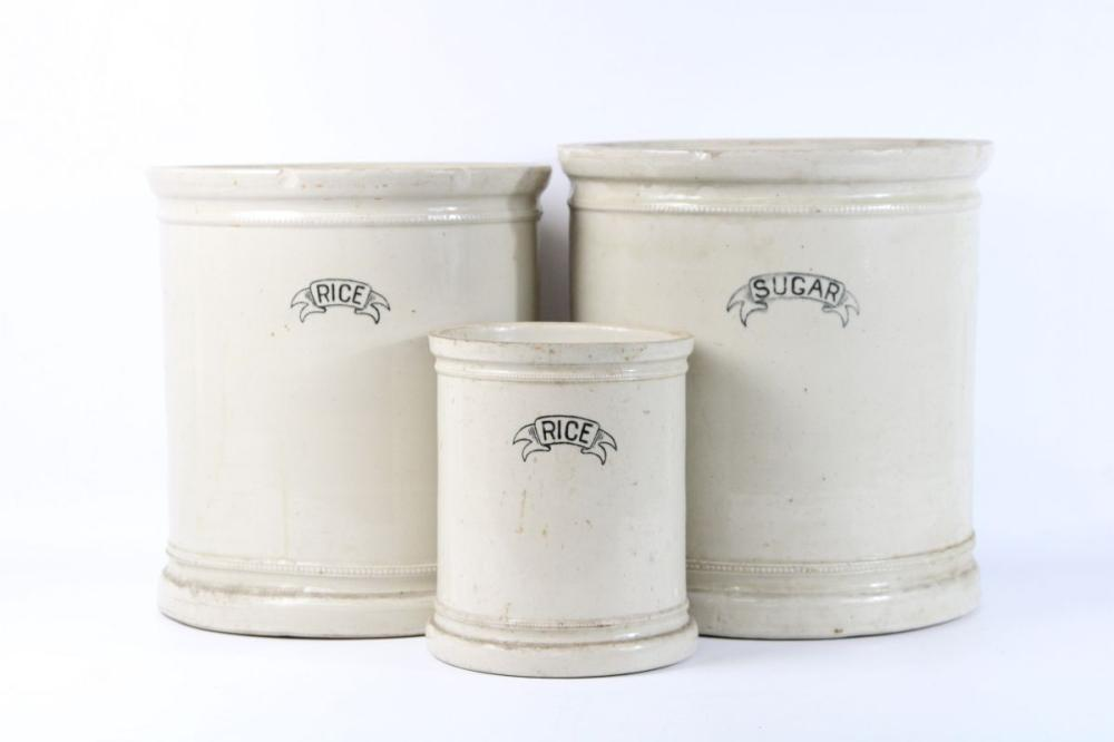 Set of 3 Fowler Ware Canisters ( some chips and ware, H 33cm, 32cm and 21cm)